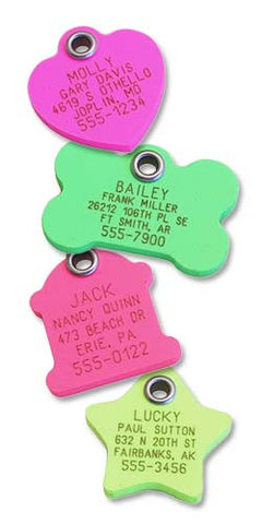 Neon Plastic Tags - Dog/Bone