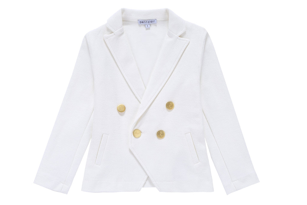Boys' Double Breasted Blazer in White