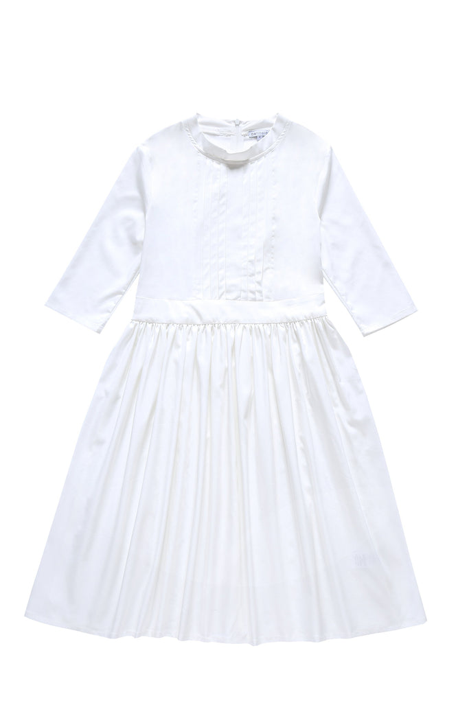 Teens' Waisted Dress in White