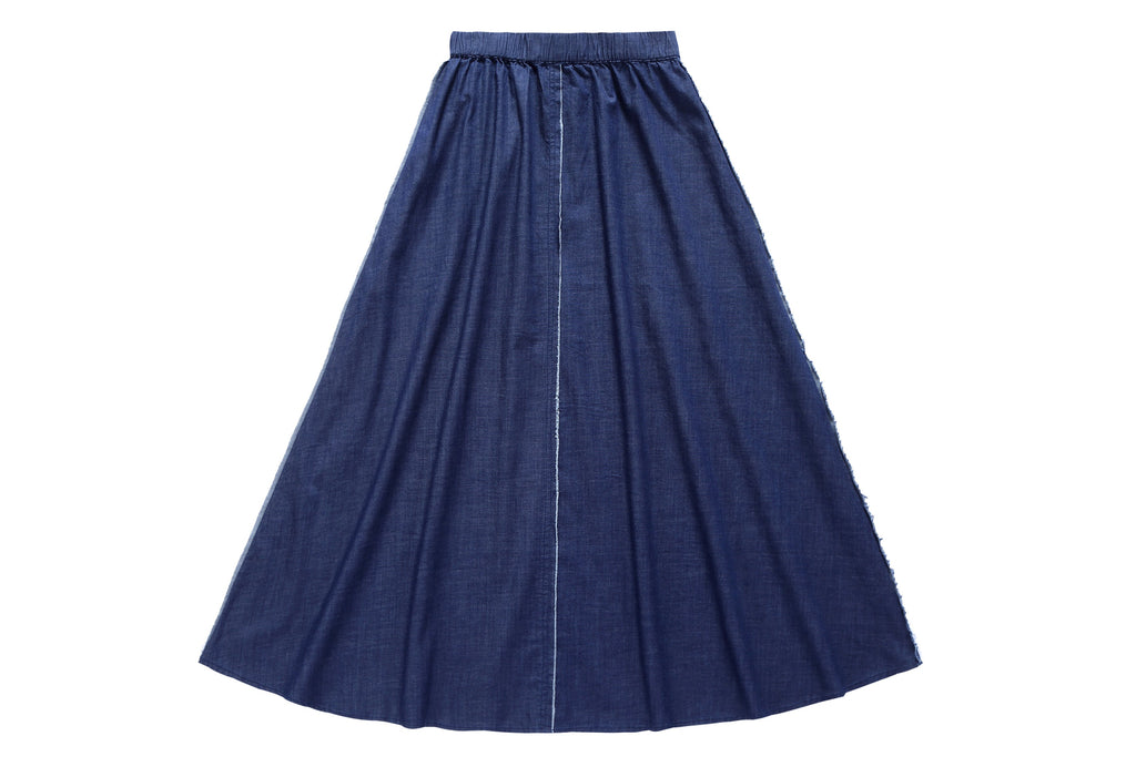 Teens' Maxi Outside Seam Skirt in Navy Denim