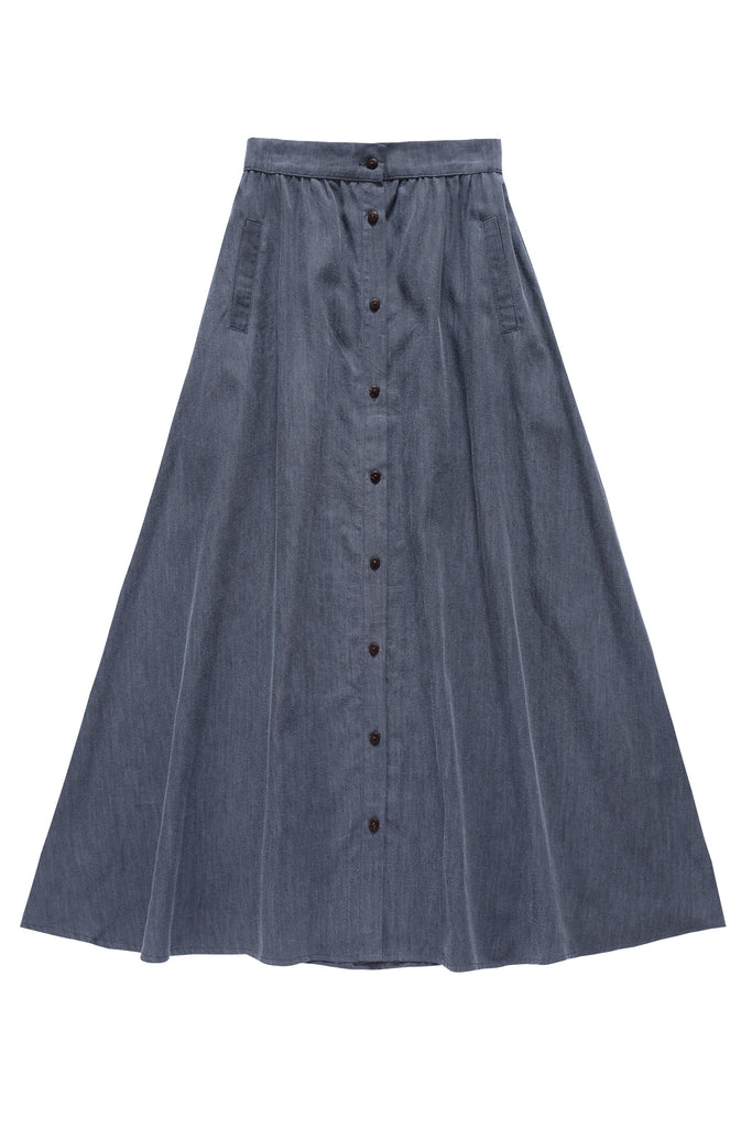 Teens' Maxi Button Down Skirt in Grey Denim