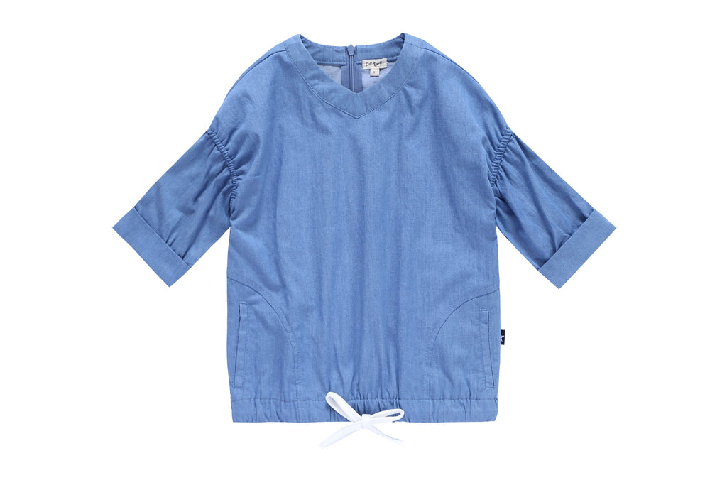 Girls' Drawstring Denim Top