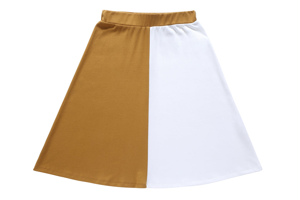 Girls' Cognac and White A-line Skirt