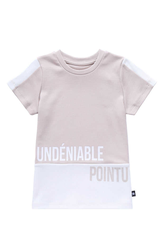 Girls' White and Blush Colorblock T-shirt