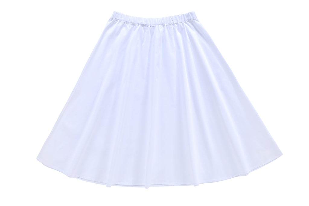 Girls'  Polished Cotton Skirt in White
