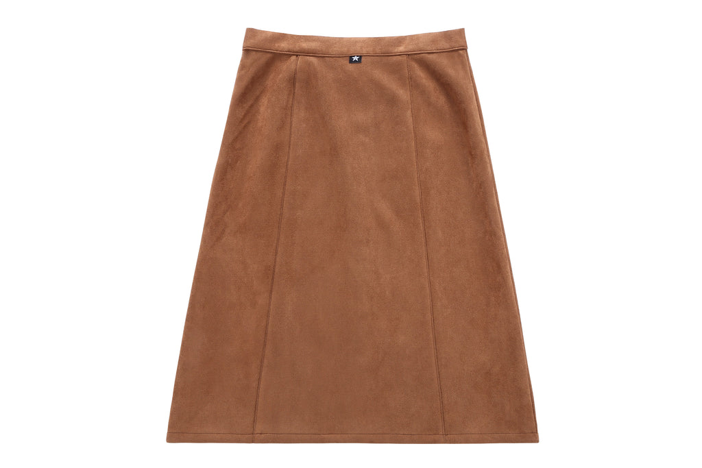 Teens' Suede Skirt in Camel