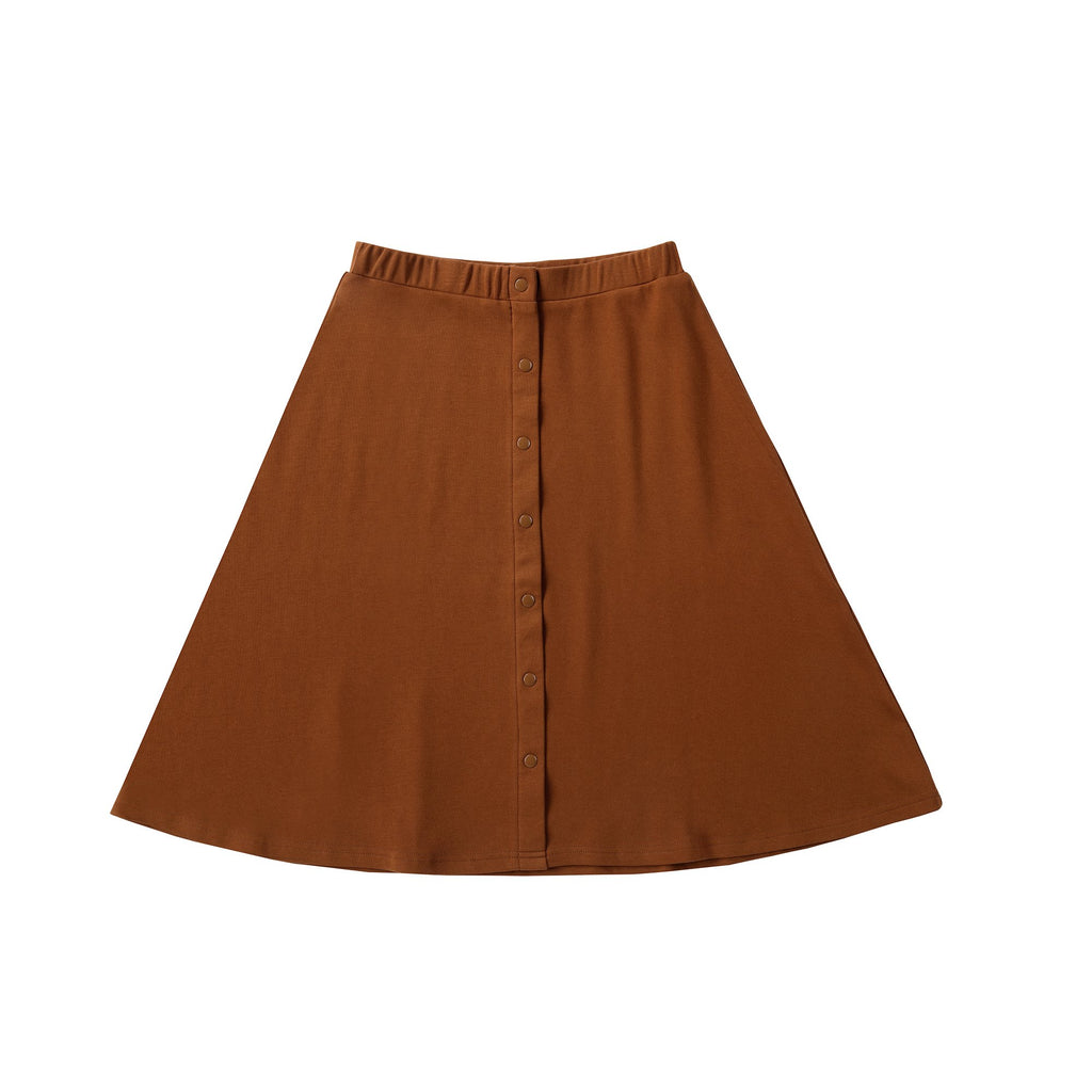 Basic Cognac Skirt with Faux Snap Detail