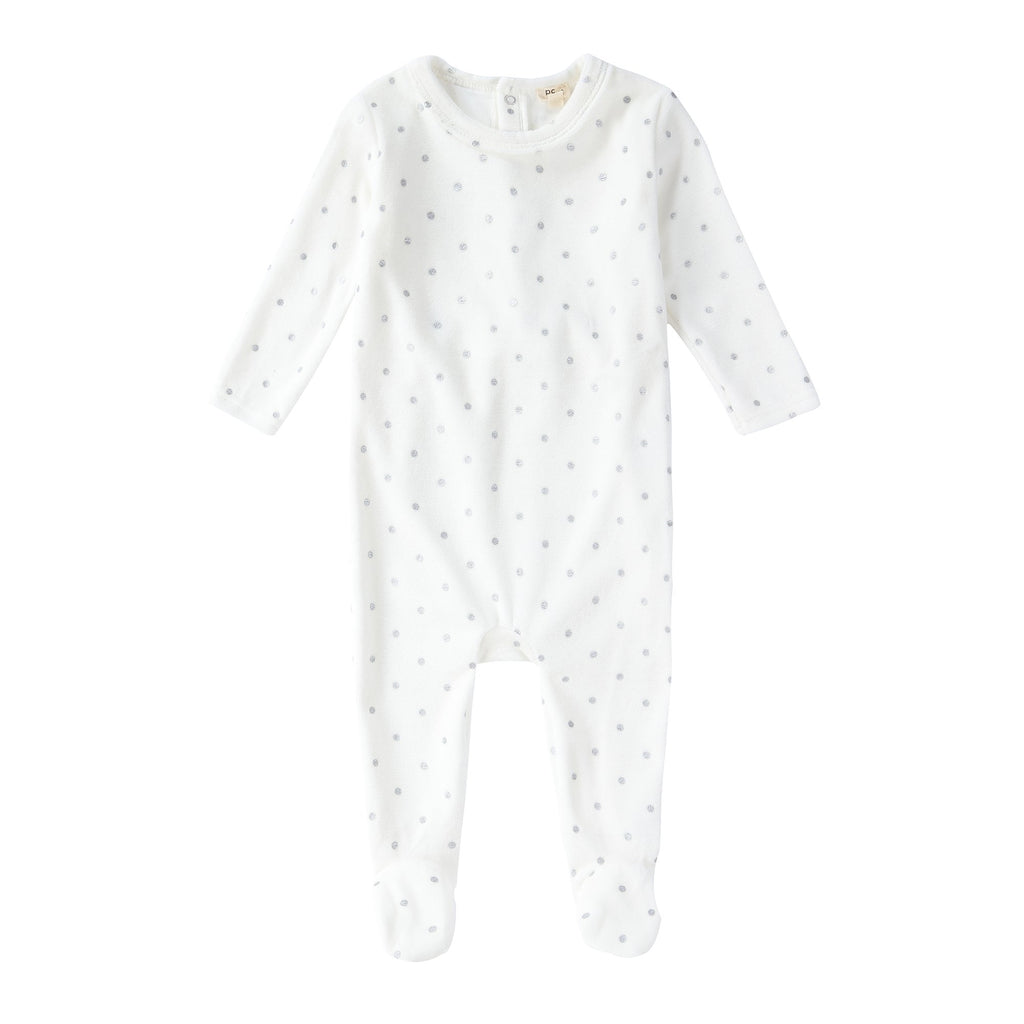 Baby Velour Onesie in Ivory Polka Dot