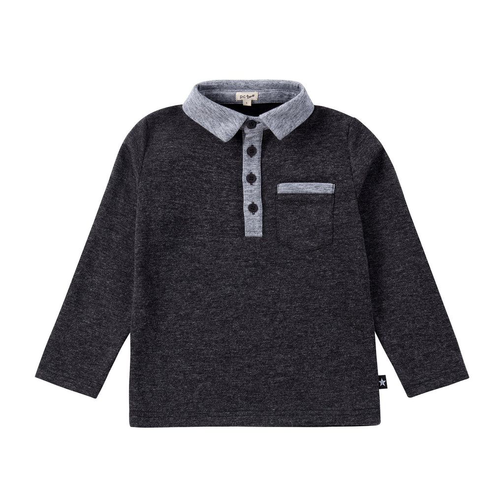 Boys Long Sleeve Grey Polo