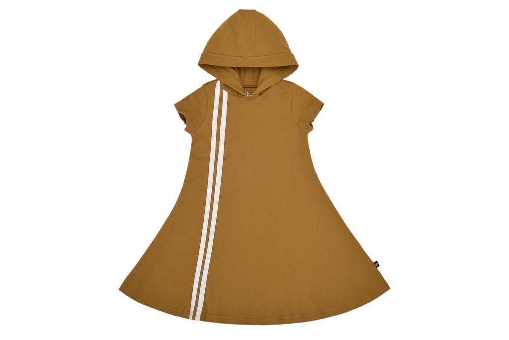 Girls' Hooded Sport Stripe Dress in Cognac