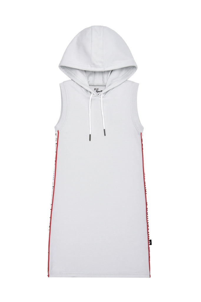 Girls' Hooded Sleevless Dress in Light Grey