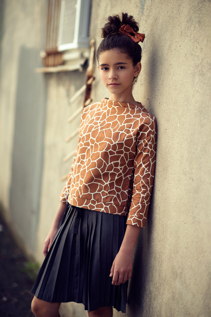 Brenna Raised Collar Top in Rust Stone