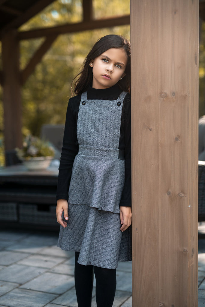 Girl's Pinafore Dress in Tweed
