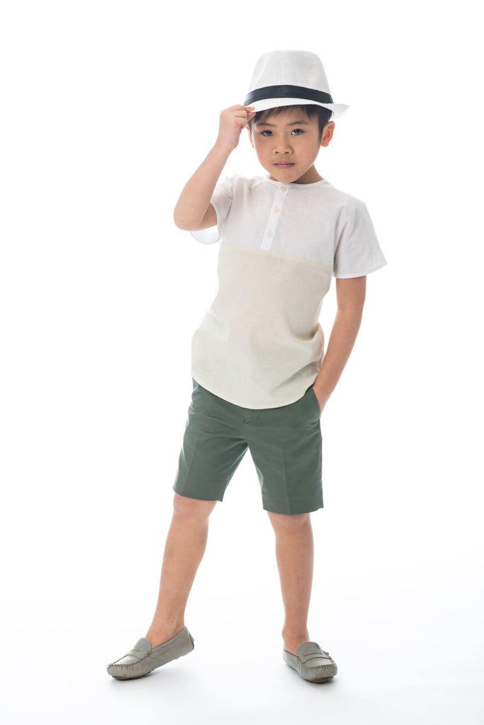 Boys' Cream and White Contrast Mandarin