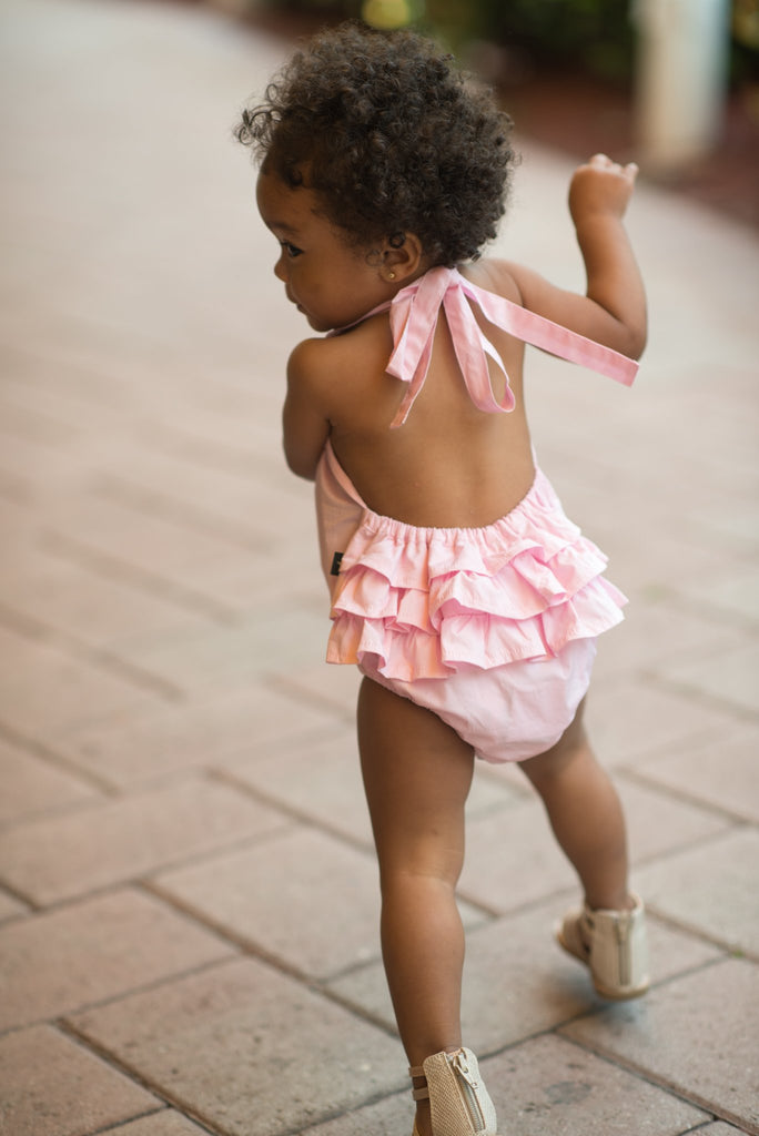 Baby Ruffled back Romper in Pink