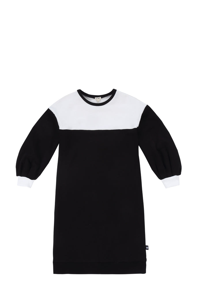Girls Black and White Sweatshirt Dress