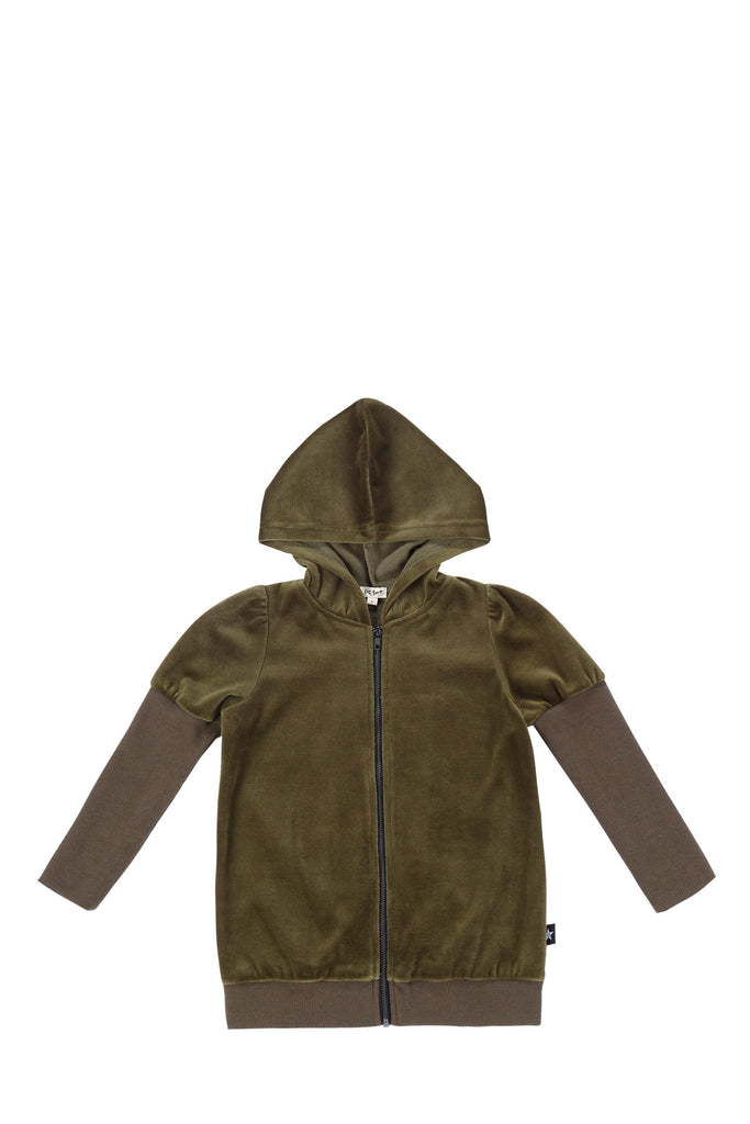 Girls Puff Sleeve Zip up Sweatshirt in Olive