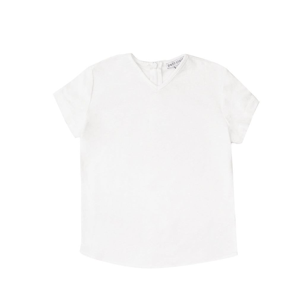 Boys' White Solid V-neck Shirt