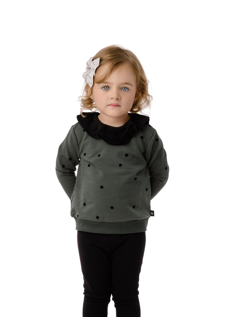 Babys' Velvet Dot Sweatshirt in Green