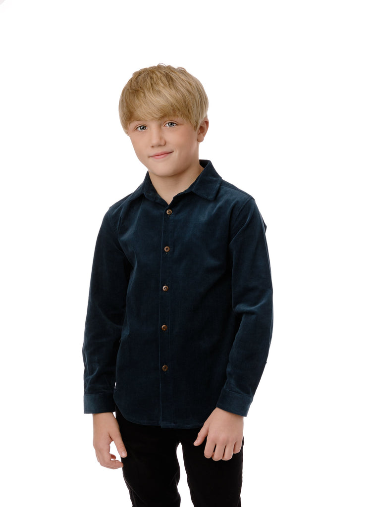Boys' Corduroy Shirt in Teal