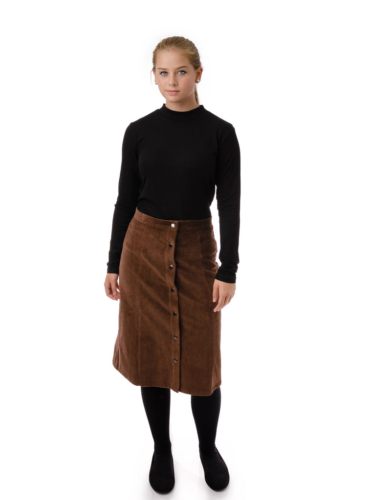 Teens' corduroy skirt in Brown