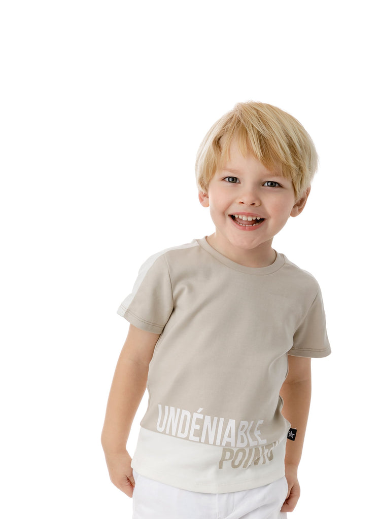 Boys' Tan and White Colorblock T-shirt