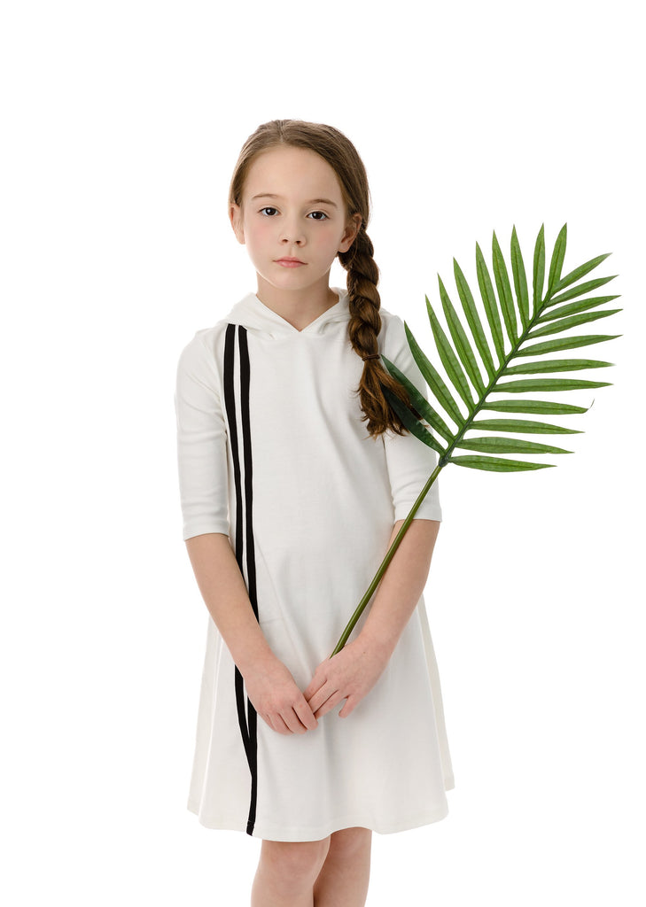 Girls' Hooded Sport Stripe Dress in White