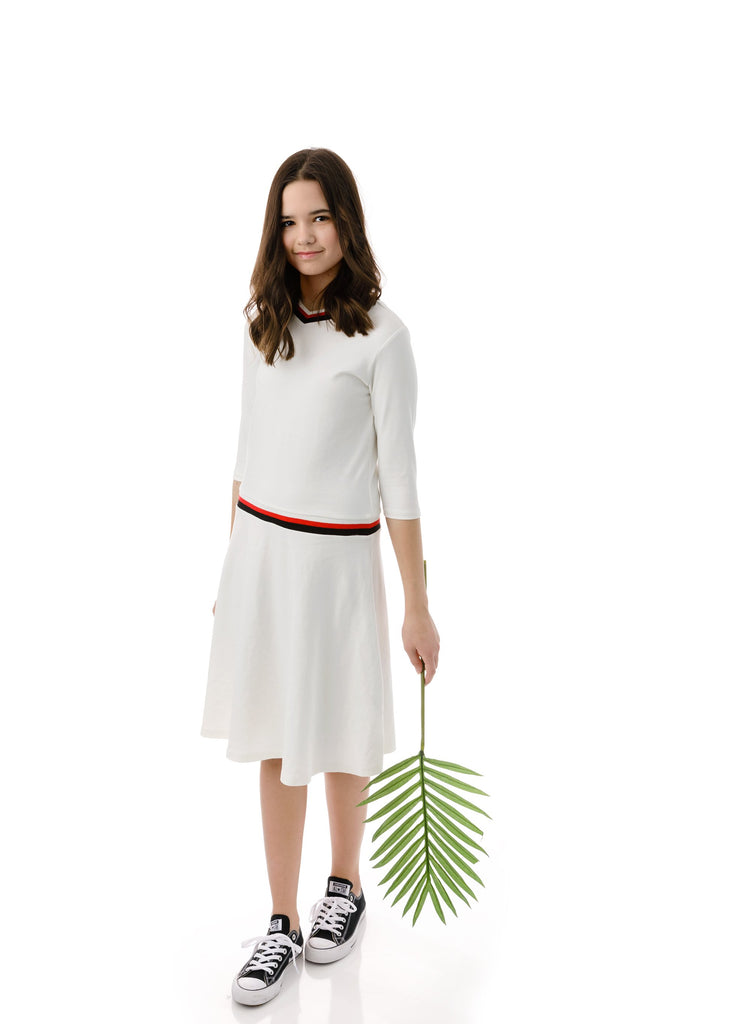Teens' Low-waisted Dress in White