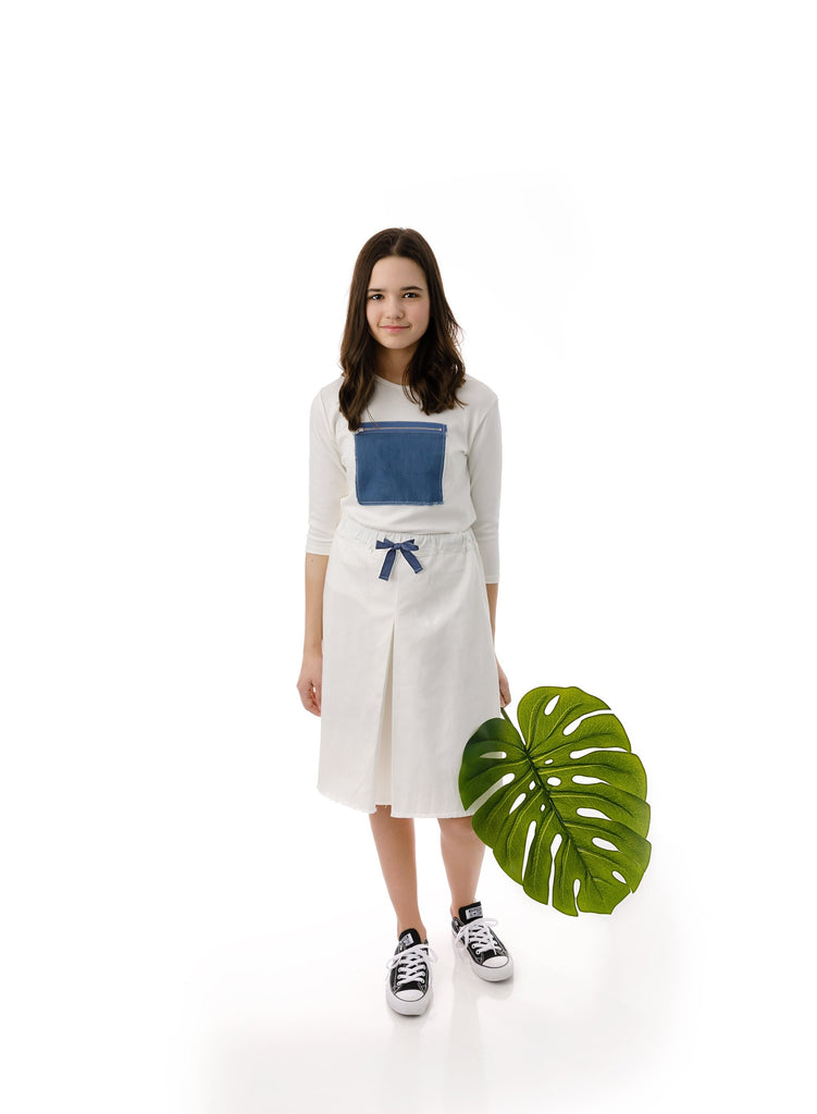 Teens' Front Pleat Skirt in White Denim