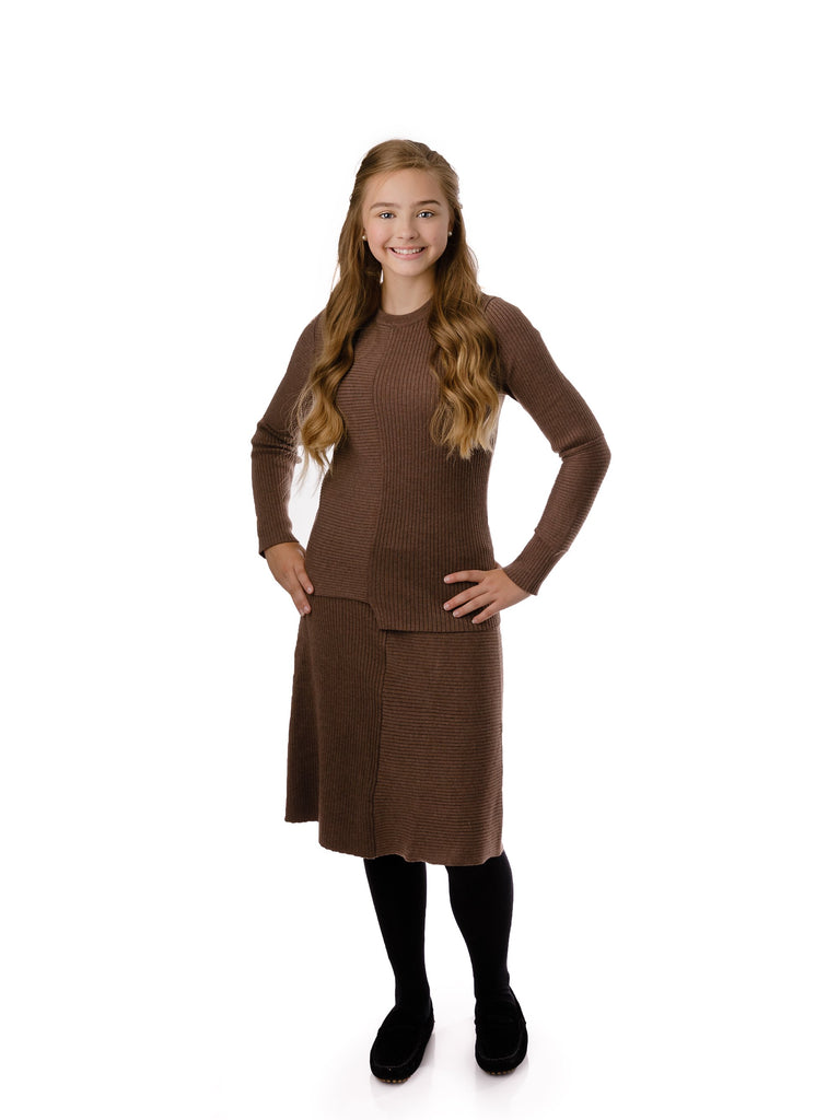Teens' Rib Knit Skirt in Taupe