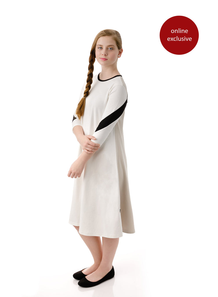Teens' Tan & White Dress