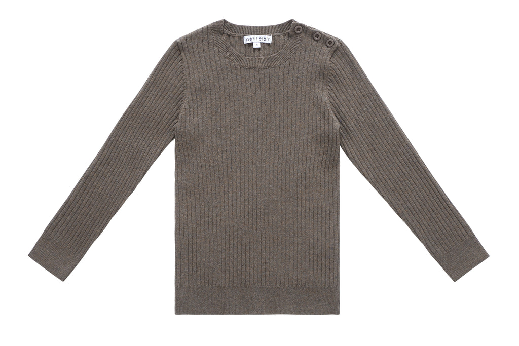 Boy's Ribbed Crewneck Sweater in Mocha