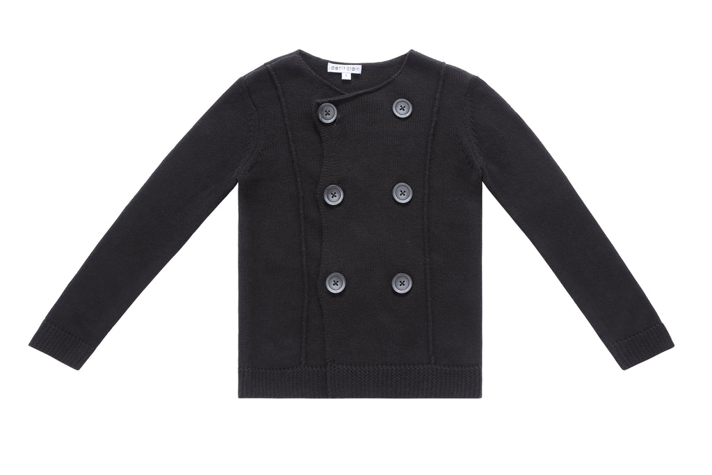 Boy's Double Breasted Knit Cardigan in Black