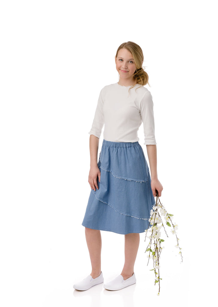 Girls Diagonal Outside Seam Skirt in Light Blue Denim