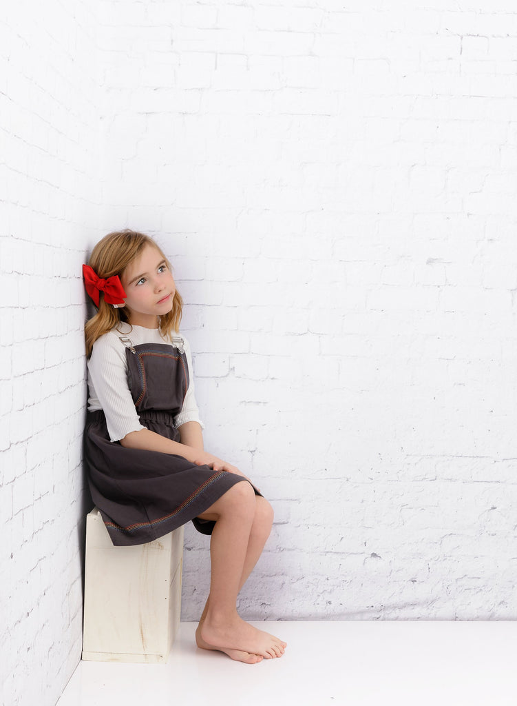 Girls' Charcoal Pinafore Jumper