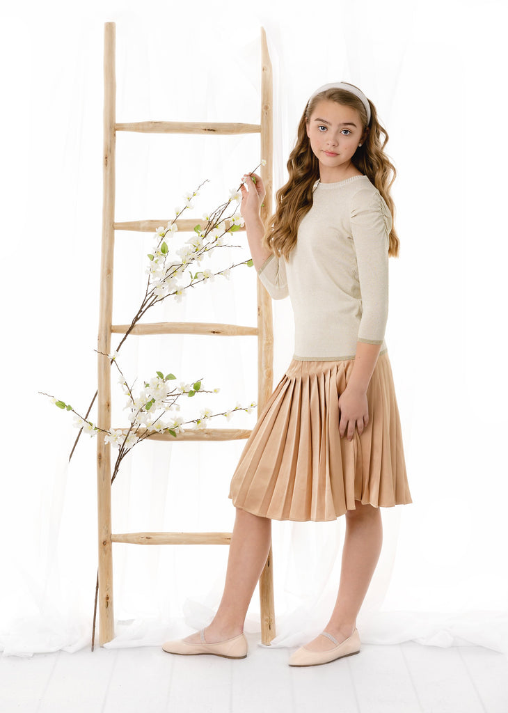 Teens Gold Silk Pleated Skirt
