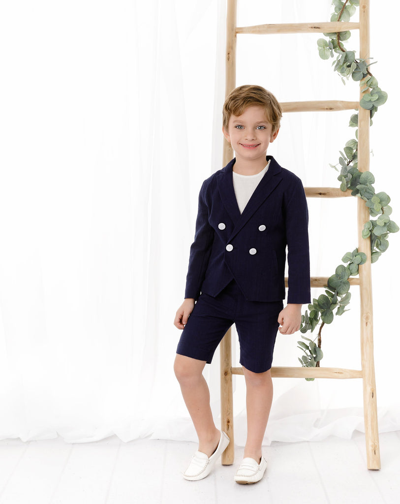 Boys Double Breasted Linen Navy Blazer