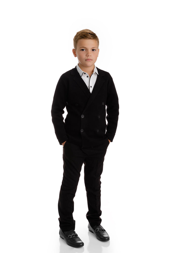 Boys Black Double Breasted Knit Blazer