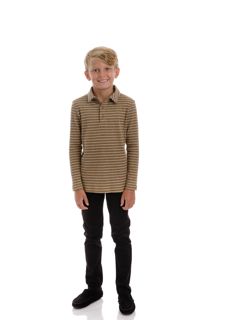 Boys Mocha Ribbed Stripe Polo