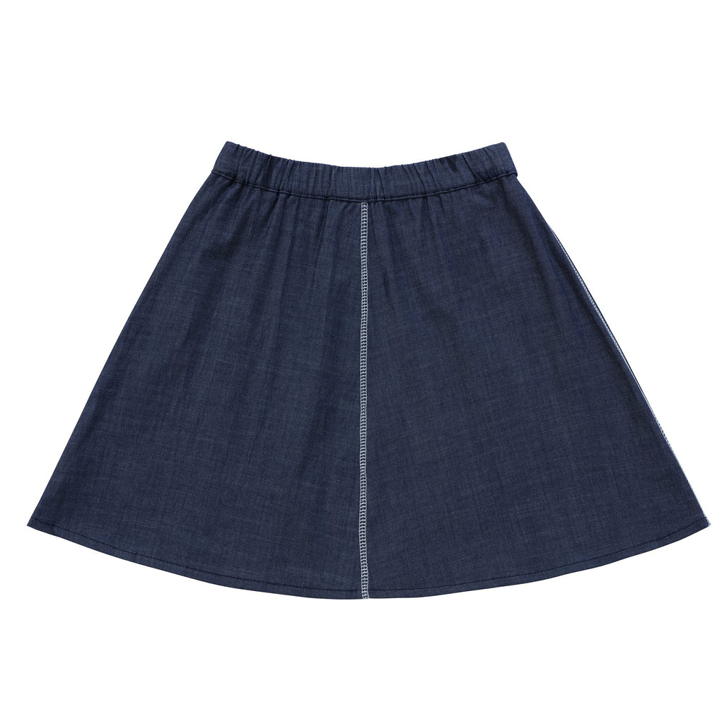 Girls Navy Denim Skirt