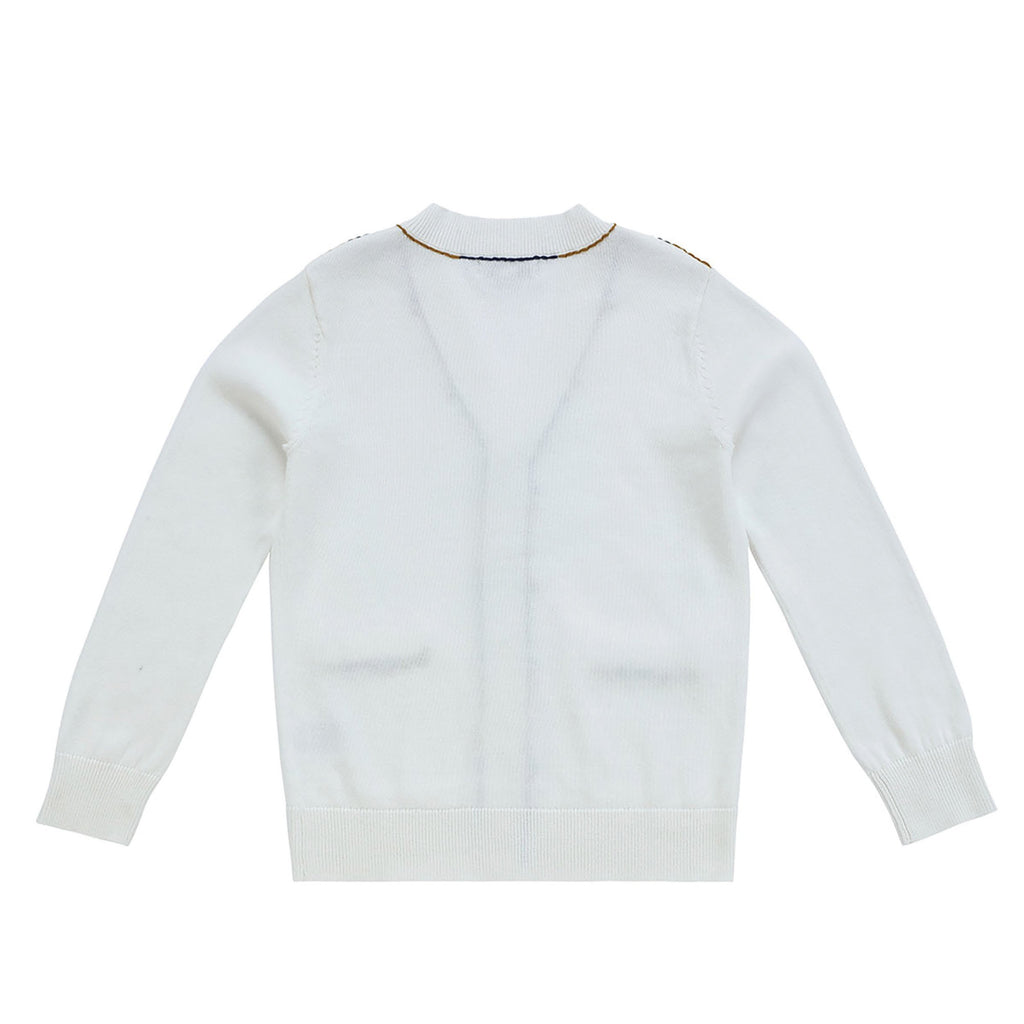Boys Ivory Cardigan with Navy and Gold Stitching
