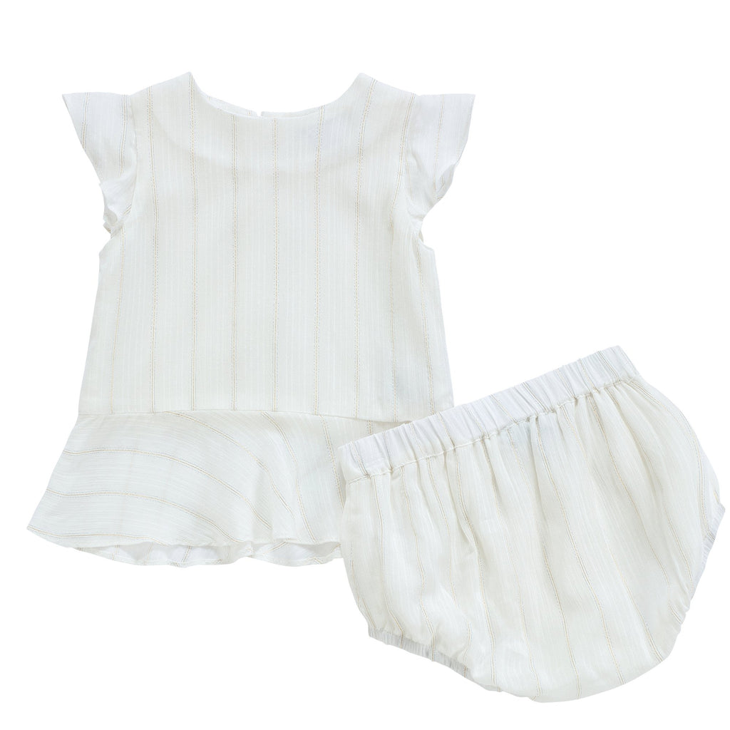 Babys' Ivory Chiffon Set with Metallic Lurex