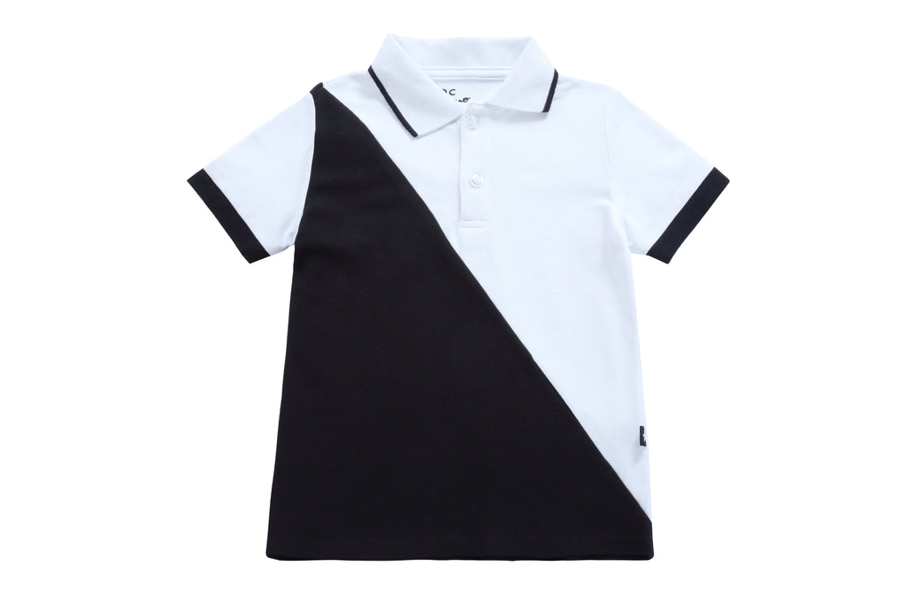 Boys Black and White Polo