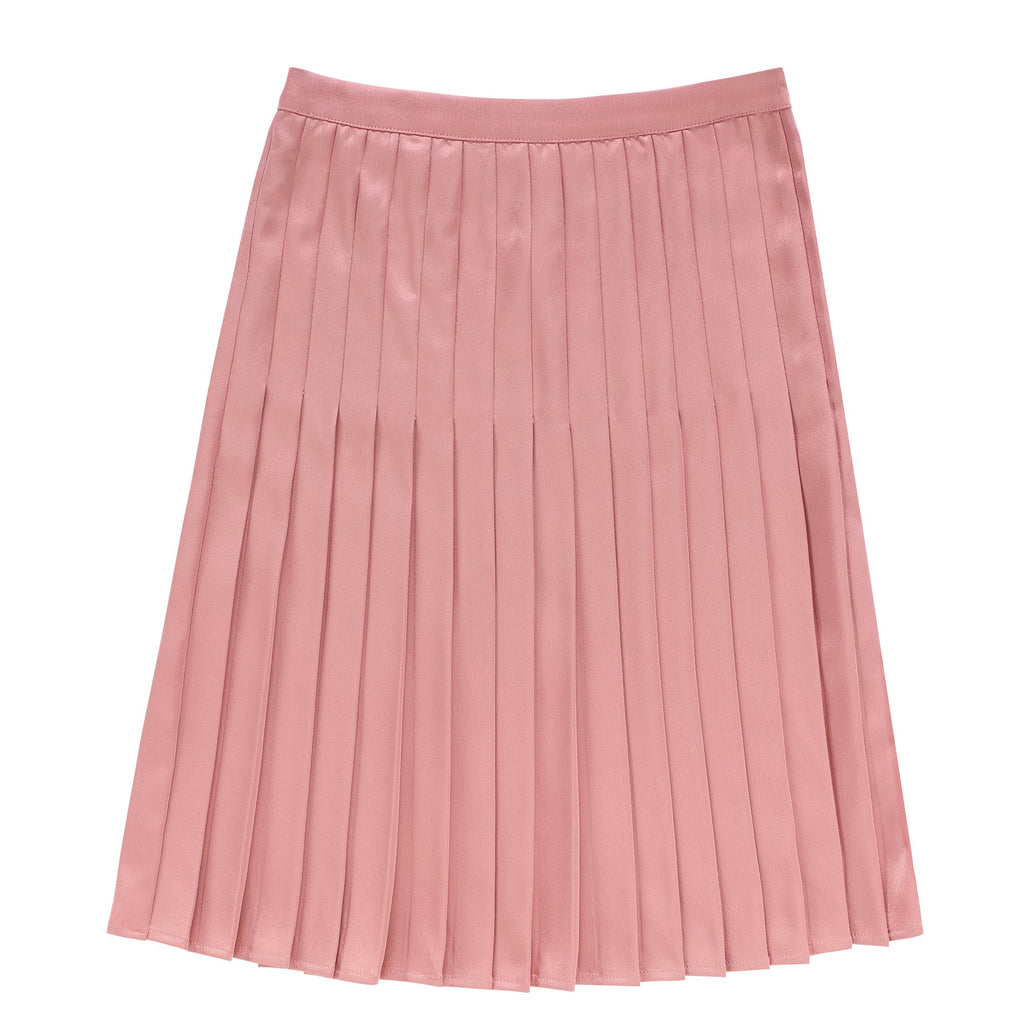 Teens Rose Silk Pleated Skirt