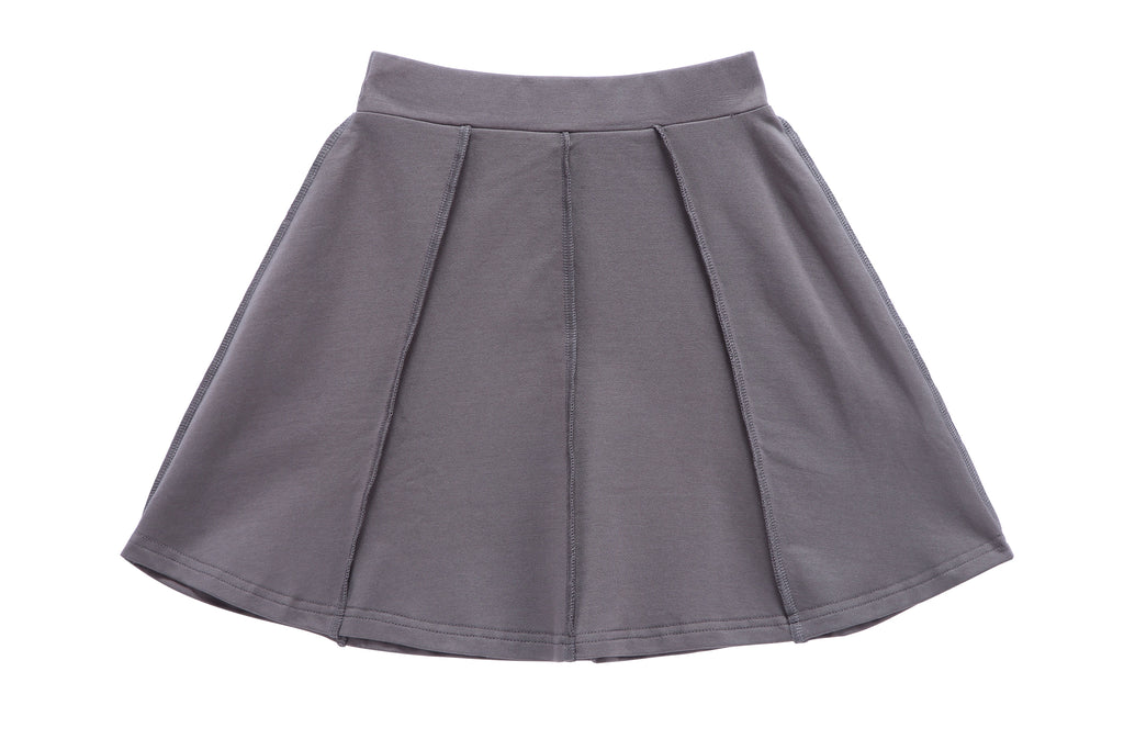 Girls' Basic Paneled Skirt in Grey