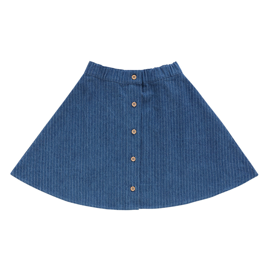 Girls Pin Striped Denim Skirt