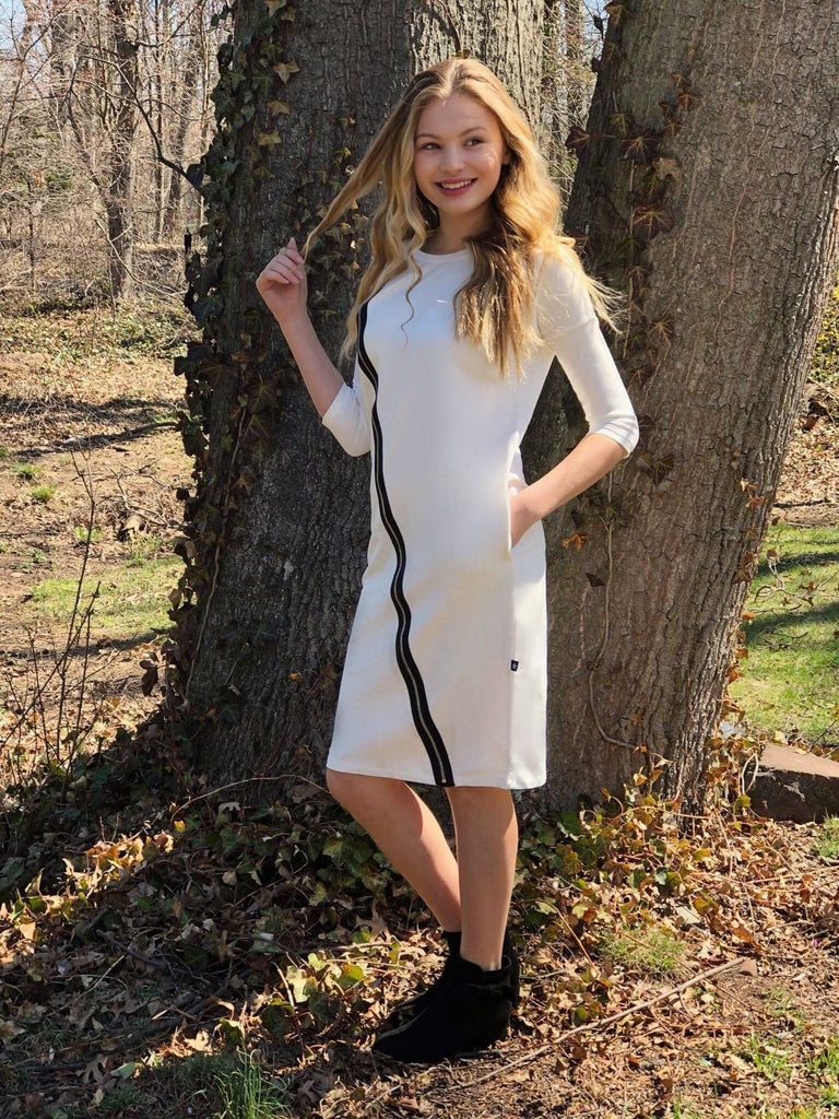 Girls Zipper Dress in White