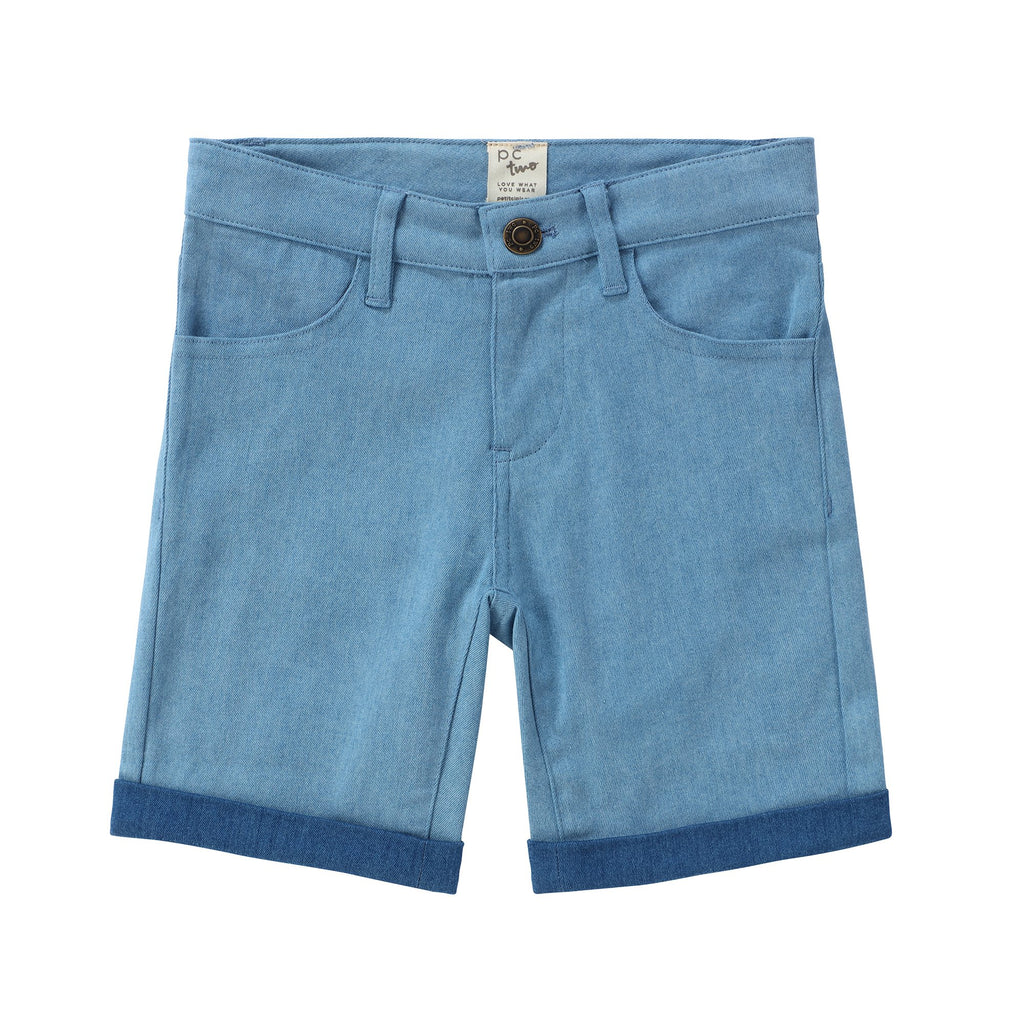 Boys Color Block Denim Shorts