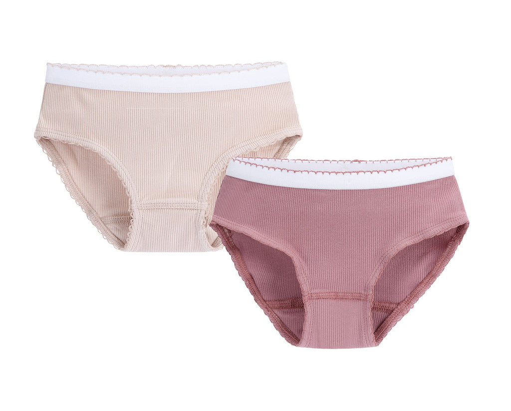 Girls 2pc Colored Ribbed Panty