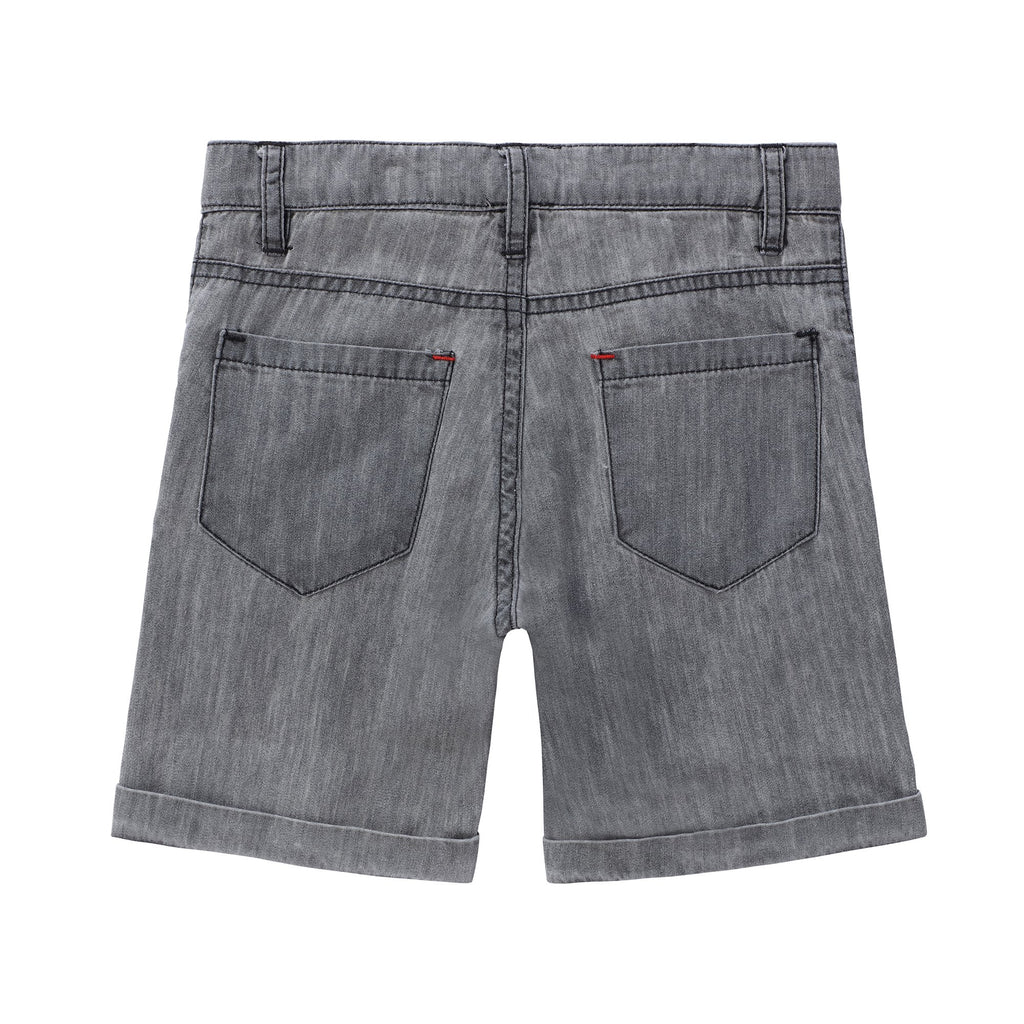 Boys Grey Denim Wash Shorts
